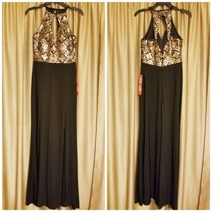 Elegant Black & Gold Formal|Prom Dress (US 6)